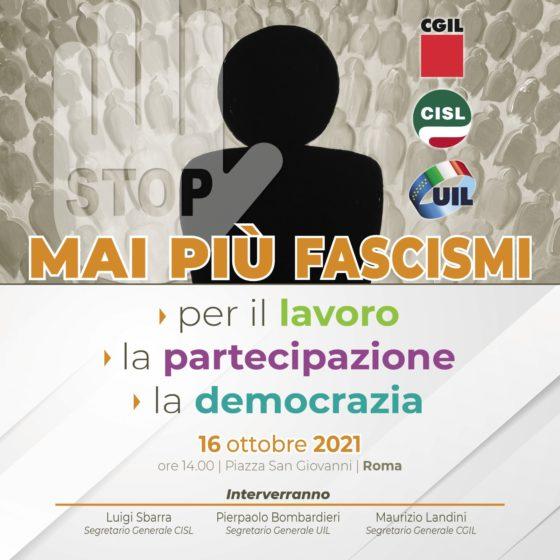 Mai più fascismi. A Roma la manifestazione dei sindacati.